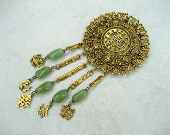 Vintage Goldette Asian Brooch Huge Glass Faux Jade Dangles Dragons Coins Calligraphy