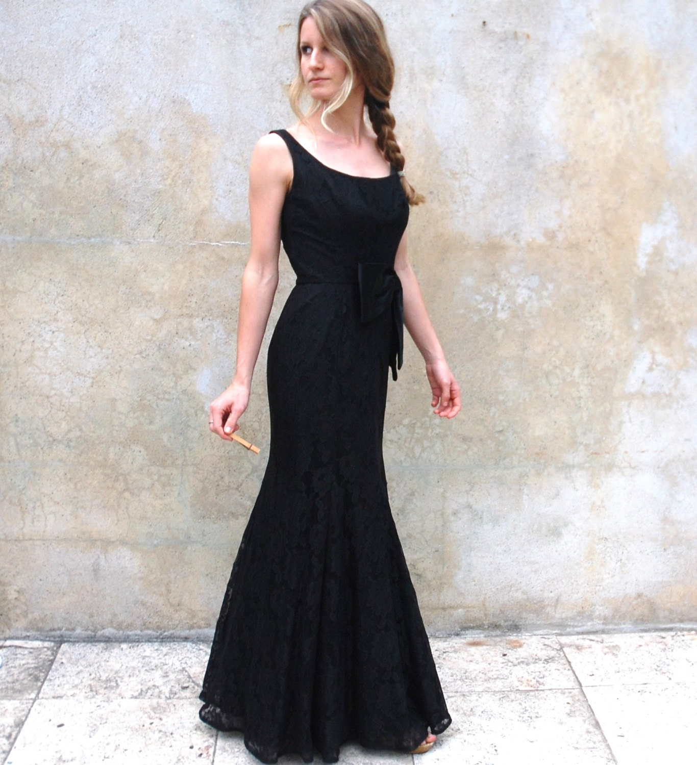 Old Hollywood Hourglass Long Black Evening Dress 1960s Floor