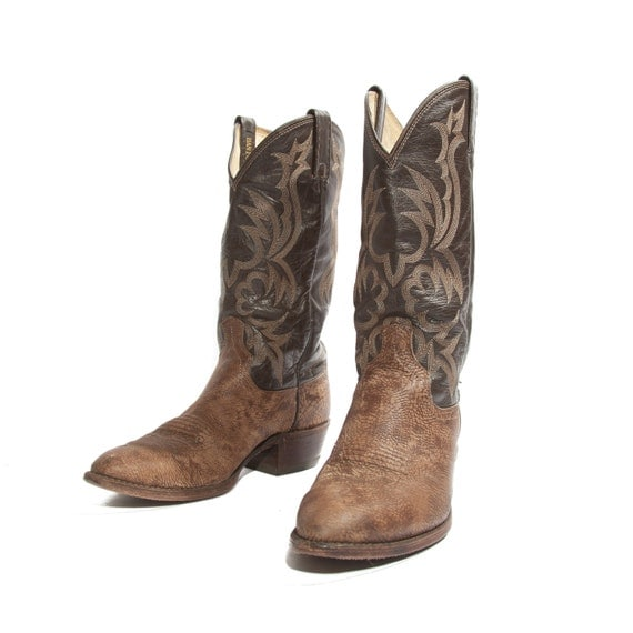 s dan post cowboy boots two tone black and brown