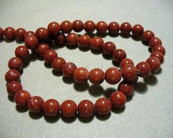 Jade Beads Gemstone Brick Red Round 8MM