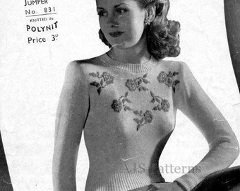 PDF Knitting pattern for a 1940's Ladies Fair Isle Jumper with a Yoke of Roses - Instant Download