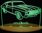 "1972  Chevelle Acrylic Lighted Edge Lit LED  Sign  13"" VVD1 Full Size USA Original"