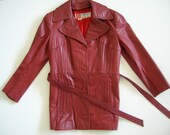 Vintage Womens Belted Cubalan Lined Leather Coat Size 14