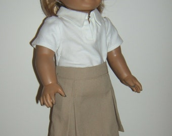 Khaki or Navy 18 inch Doll School Uniform Skirt with White Peter Pan