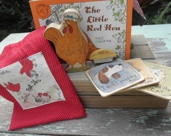 Wooden Toy Set Little Red Hen-Story Book Series Waldorf Inspired