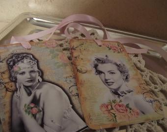 Ladies  Vintage  Gift  Tags  Adorn  With  Pastel Pink Ribbon