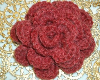 Crochet Flower Red Rose, Frosted Wool, Brooch, Pin, Accessory,