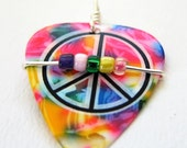 Guitar Pick Necklace - Tye Dyed peace sign guitar pick