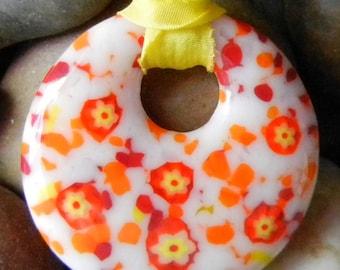Yellow Orange Fused Glass Pendant - Orange Yellow Frit Murrini