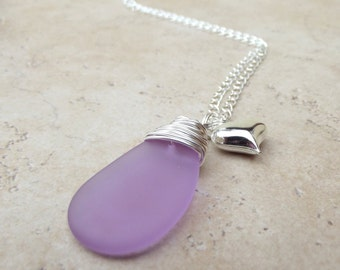 Lavender Sea Glass Necklace:  Purple and Silver Wire Wrapped Pendant, Puffed Silver Heart Charm, Valentine's Day Jewelry
