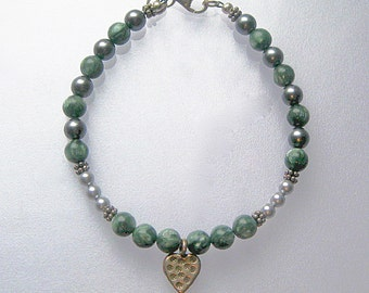 Seraphinite, Swarovski crystal pearl, and sterling silver bracelet 2: charity donation