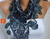 ON SALE - Gray Leopard Scarf   Women Scarf  Cowl Scarf with Lace Edge - fatwoman