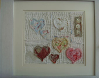 Vintage bespoke quilt heart picture .... Quilted Hearts