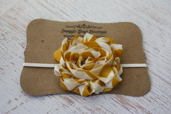 Mustard and Cream Shabby Chiffon Flower Headband or Hair clip