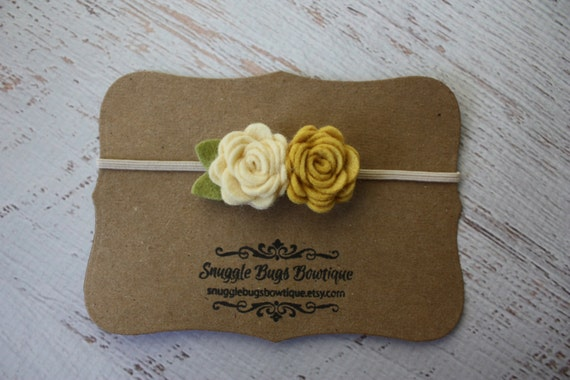 Baby Felt Flower Headband -  Pair of Wool Felt Rosebuds in Ochre Yellow and Cream   - Newborn to Adult