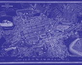 Edinburgh Map Scotland Print Poster Blueprint