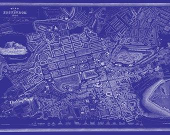 Edinburgh Map Scotland Print Poster Blueprint