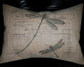 Vintage French Ledger Dragonfly Burlap 12 x 16 Accent Pillow Shabby Chic Decor