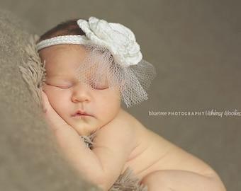 Crochet Headband Pattern: 'Wee Whimsies' Crochet Fascinator, Christening, Newborn Photo Prop, Crochet Rose
