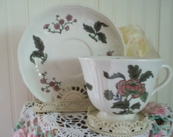 Mandarin Pattern Wedgwood Tea Cup and Sauce  Made in England