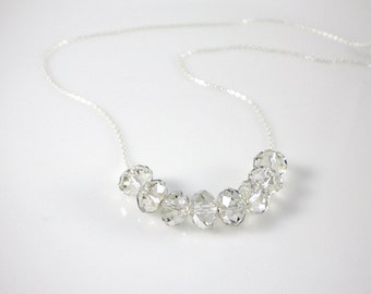 Sterling silver with Swarovski crystal silver shade (or clear) rondelles, Carrie necklace, Valentin's day