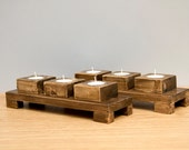 Wood Candle Holders in Walnut 2 sets with display tables - ArtGlamourSligo