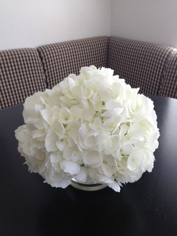 Fine Silk Floral Arrangement Faux Large Triple White Hydrangea In Cylinder with Illusion Faux Water