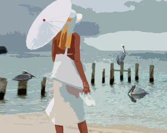 At Clam Pass...Original Painting, Archival Print, Home Decor, Beach, Woman, Sea Side, Pelicans