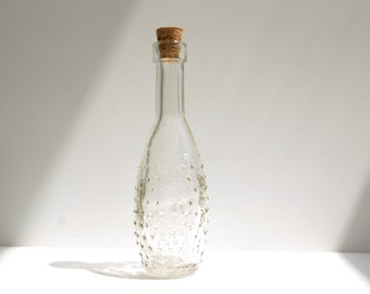 "Decorative Clear Glass Bottle with Cork (5"" tall), Style 8 - Small bottle perfect for spices, bath salts,  vases, and more"
