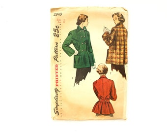 Vintage 1940s Simplicity Pattern 2949, Misses' Topper Coat (Complete / Uncut, Size 14 / Bust 32) - Collectible, Sewing Pattern