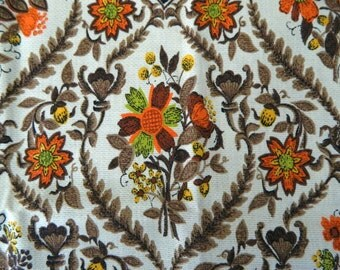 1960s  Floral Fabric Remnant ..  Vintage 60s Earthtones Material Remnant .. Heritage