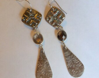 Handcrafted Fine Silver .999 Dangle Earrings with Natural Smoky Quartz Gemstones