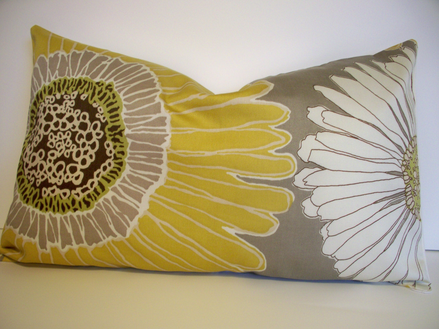 Sunflower Pillow Cover Daisy Pillow Cover Aurora by linenandoak
