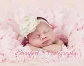 Baby Headband..Baby Girl Headband..Baby Girl Christening or Baptism Headband..Diamond White flower...Cream Flower with Rhinestones