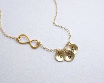 Gold Infinity Three Initial Necklace -- 14k Gold Filled Chain -- Personalized -- Friendship -- Sisters -- Mothers Necklace