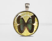 Yellow and Teal Butterfly: Round Necklace Charm by TheTrendyTrinket. Round pendant jewelry. Gift Present for Her.