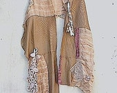 Winter prairie brown Romance Shabby Chic wrap cowgirl french boho Shawl Silk Linen Vintage Laces