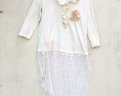 Gypsy white  Ecru garden Tunic dress rustic upcycled prairie boho Lace shabby bayou cowgirl party vintage boho