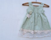 CUSTOM example soft  green linen toddler birthday holiday special wedding party eco upcycled lace roses dress