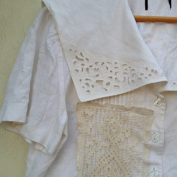 romantic southern belle ecru  linen battenburg lace ivory natural eco upcycled romantic romance vintage lace shirt blouse