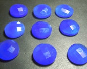 10Pc Top Quality Dark Blue Chalcedony Rose Cut Stone Calibrated 16x16MM Round Wholesale Inida