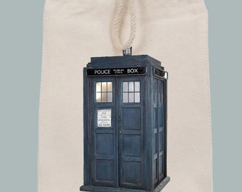 Blue British Police Box Dr. Who Illustration Lunch Bag Tote with Velcro closure and Rope Handle
