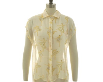 Ready to ship - Nina ballerina watercolor printed silk chiffon button down blouse