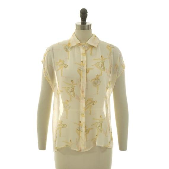 Ready to ship - Nina ballerina watercolor printed silk chiffon button down blouse