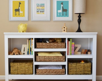 Love Forever Giraffe Children's Wall Art, Children's Art Print, Nursery Decor- Set of three 8x10 prints