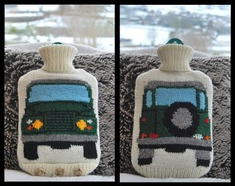 Knitting Pattern - Knit a Hot Water Bottle Cover Based on the Land Rover (Landrover)