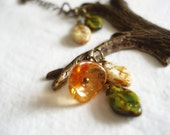 Nature necklace, Boho necklace, tree,Czech glass leafs, flower and sparrow - Brass Orange green beige - Woods, bird, spring