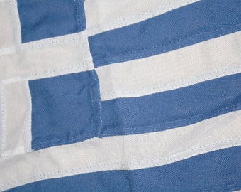 Greece sewn flag. 1.5 yards, canvas rope and toggle, supplied with keepsake bag