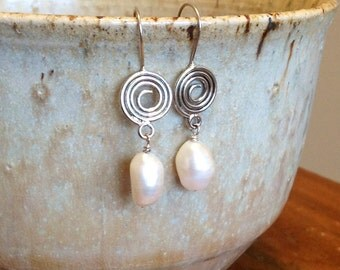 Sterling Silver Spiral and Freshwater Pearl Earrings