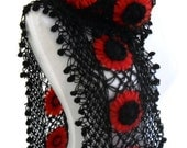 crochet scarf, crochet flower scarf, turkish scarf style, unique gift, christmas gift, mothers day,Red and black